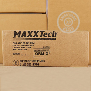 A photo of a box of MaxxTech ammo in .380 Auto.