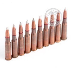 A photograph detailing the bulk 7.62 x 54R ammo with FMJ bullets made by Russian Surplus.