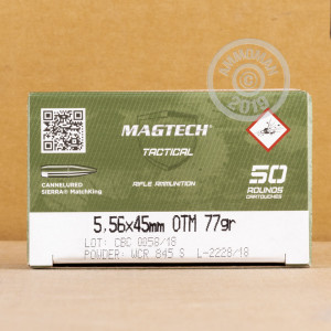 Photo of 5.56x45mm Hollow-Point Boat Tail (HP-BT) ammo by Magtech for sale.