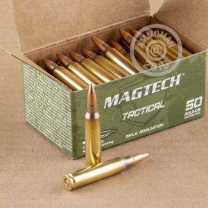 A photograph of 50 rounds of 77 grain 5.56x45mm ammo with a Hollow-Point Boat Tail (HP-BT) bullet for sale.