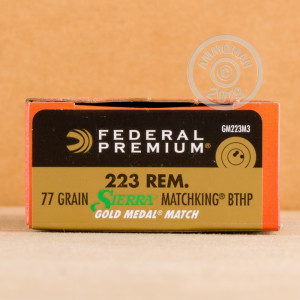 Photo detailing the 223 REMINGTON FEDERAL PREMIUM GOLD MEDAL 77 GRAIN HPBT (20 ROUNDS) for sale at AmmoMan.com.