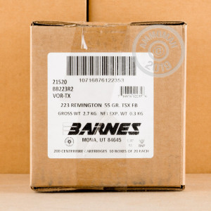 Image of Barnes 223 Remington rifle ammunition.