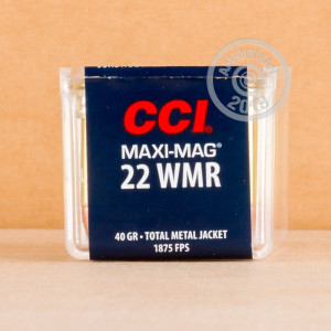 rounds of .22 WMR ammo with TMJ bullets made by CCI.