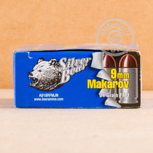 A photo of a box of Silver Bear ammo in 9x18 Makarov.