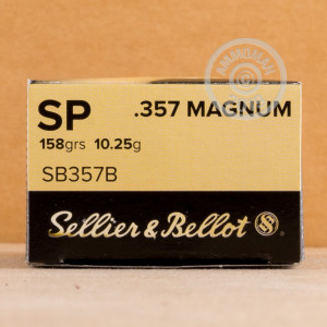 An image of 357 Magnum ammo made by Sellier & Bellot at AmmoMan.com.