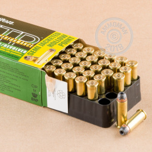 Image of 44 Remington Magnum ammo by Remington that's ideal for home protection, hunting wild pigs, whitetail hunting.