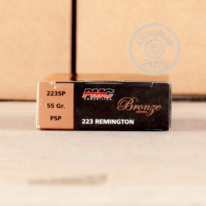 Image detailing the brass case and boxer primers on 800 rounds of PMC ammunition.