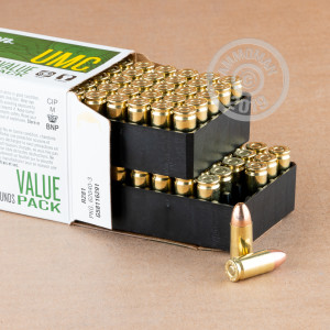 Image of 9mm Luger ammo by Remington that's ideal for training at the range.