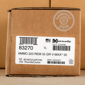 Image of the 223 REMINGTON HORNADY 55 GRAIN VMAX (50 ROUNDS) available at AmmoMan.com.