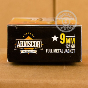 A photo of a box of Armscor ammo in 9mm Luger.