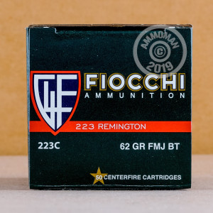 A photograph detailing the 223 Remington ammo with FMJ-BT bullets made by Fiocchi.