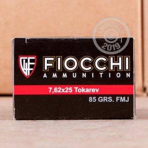 A photo of a box of Fiocchi ammo in 7.62 x 25.
