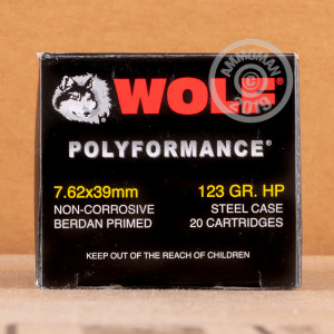 Image of 7.62 x 39 ammo by Wolf that's ideal for home protection, hunting varmint sized game, hunting wild pigs, training at the range, whitetail hunting.