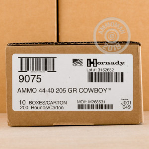 Photograph showing detail of 44-40 WINCHESTER HORNADY COWBOY 205 GRAIN LFN (20 ROUNDS)