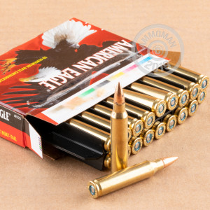 Photo detailing the 223 REMINGTON FEDERAL AMERICAN EAGLE 55 GRAIN FMJBT (500 ROUNDS) for sale at AmmoMan.com.
