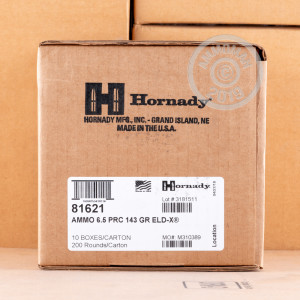 Photo detailing the 6.5 PRC HORNADY PRECISION HUNTER 143 GRAIN ELD-X (20 ROUNDS) for sale at AmmoMan.com.