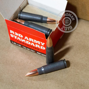 A photograph of 180 rounds of 123 grain 7.62 x 39 ammo with a FMJ bullet for sale.