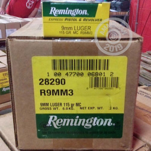 Photo of 9mm Luger FMJ ammo by Remington for sale at AmmoMan.com.