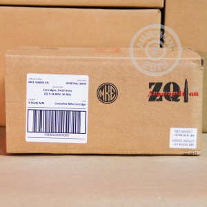 A photo of a box of ZQI Ammunition ammo in 5.56x45mm that's often used for training at the range.