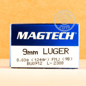 An image of 9mm Luger ammo made by Magtech at AmmoMan.com.