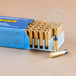 A photograph of 50 rounds of 158 grain 38 Special ammo with a Lead Round Nose (LRN) bullet for sale.