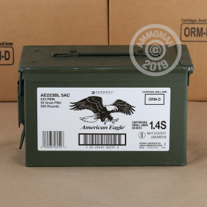 Image of the 223 REM FEDERAL AMERICAN EAGLE 55 GRAIN FMJBT (500 ROUNDS) available at AmmoMan.com.
