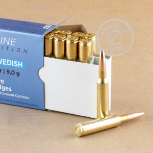 A photograph detailing the 6.5 x 55 Swedish ammo with FMJ bullets made by Prvi Partizan.