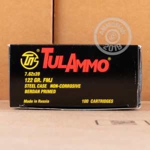 Image detailing the steel case on the Tula Cartridge Works ammunition.