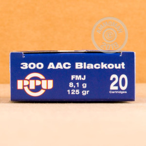 A photograph detailing the 300 AAC Blackout ammo with FMJ bullets made by Prvi Partizan.