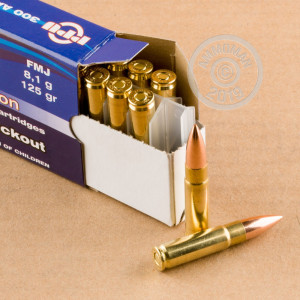 A photograph of 1000 rounds of 125 grain 300 AAC Blackout ammo with a FMJ bullet for sale.