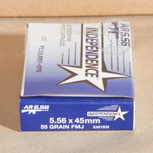 An image of 5.56x45mm ammo made by Independence at AmmoMan.com.