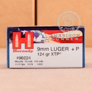 Image of 9mm Luger ammo by Hornady that's ideal for home protection, training at the range.