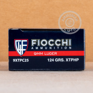 A photograph detailing the 9mm Luger ammo with JHP bullets made by Fiocchi.