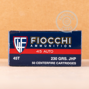 A photo of a box of Fiocchi ammo in .45 Automatic.