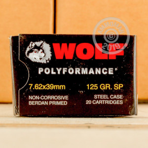 A photograph detailing the 7.62 x 39 ammo with soft point bullets made by Wolf.