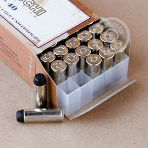 A photograph detailing the 44-40 WCF ammo with Lead Round Nose (LRN) bullets made by Fiocchi.