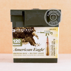 Photo detailing the 5.56X45MM FEDERAL AMERICANN EAGLE M855 62 GRAIN FMJ (120 ROUNDS) for sale at AmmoMan.com.