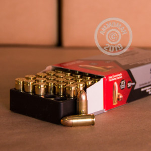 A photo of a box of Aguila ammo in 9mm Luger.