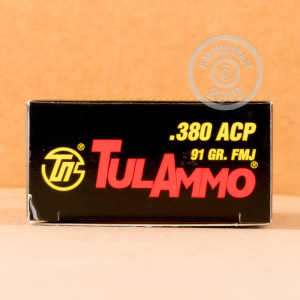 A photo of a box of Tula Cartridge Works ammo in .380 Auto.