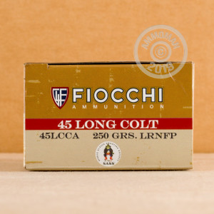 A photograph detailing the .45 COLT ammo with LRN-FP bullets made by Fiocchi.
