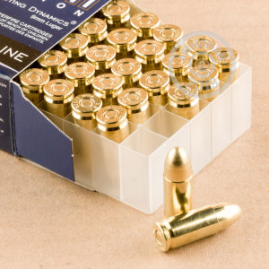 Image of 9mm Luger pistol ammunition at AmmoMan.com.