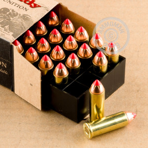Image of 44 Remington Magnum ammo by Hornady that's ideal for home protection, hunting wild pigs, whitetail hunting.