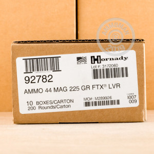 Image of 44 Remington Magnum ammo by Hornady that's ideal for whitetail hunting.