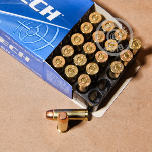 A photograph of 50 rounds of 158 grain 38 Special ammo with a FMJ bullet for sale.