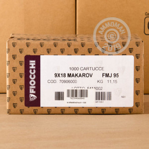 Image of 9x18 Makarov ammo by Fiocchi that's ideal for shooting indoors, training at the range.