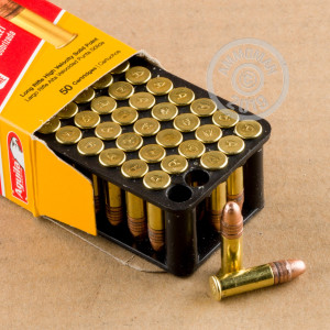 Photograph of .22 Long Rifle ammo with copper plated soft point ideal for hunting varmint sized game, training at the range.
