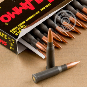 A photograph detailing the 7.62 x 54R ammo with FMJ bullets made by Tula Cartridge Works.