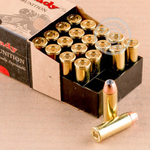 Image of Hornady 44 Remington Magnum pistol ammunition.
