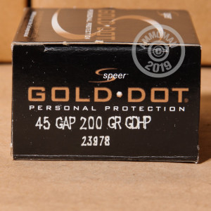 A photo of a box of Speer ammo in .45 GAP.