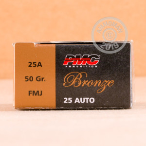 Photo of .25 ACP FMJ ammo by PMC for sale at AmmoMan.com.